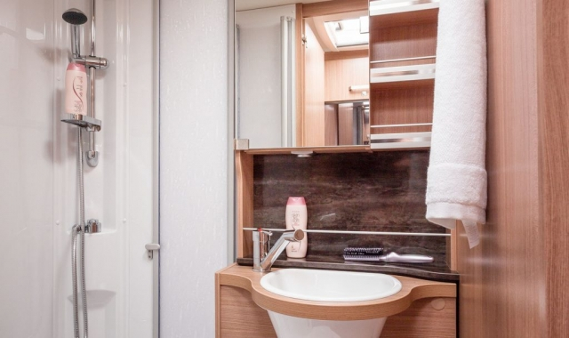 Dusche ist mittels Tür abtrennbar, Waschbecken und Toilette
